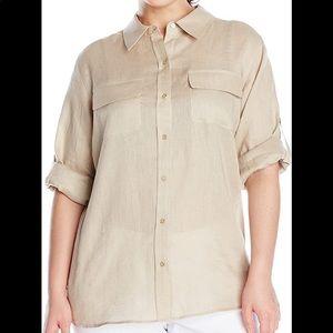Calvin Klein tan linen roll sleeve shirt M D1